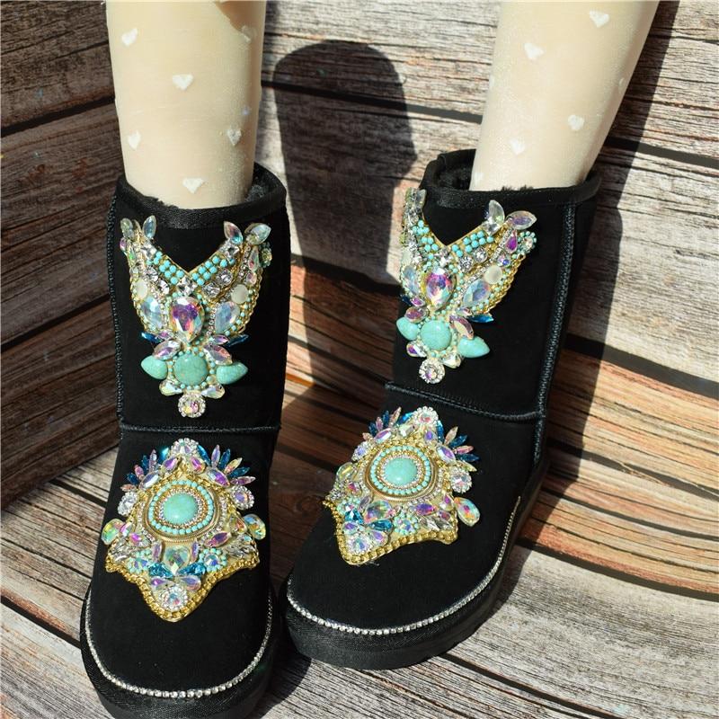 Hiver nouvelle mode chaud fait à la main de luxe strass fourrure de renard en cuir véritable haute anti ski bottes coton chaussures femmes
