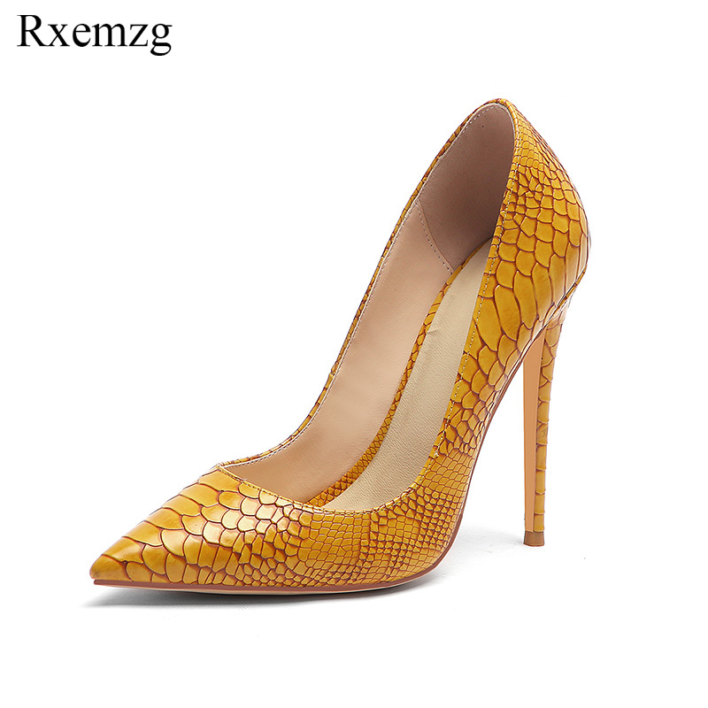 Rxemzg 2019 hot sales women pumps fashion design high heels ladies shose high quality snake pattern