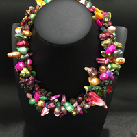 Vivid Color Real Natural Fresh Water Pearl Necklace Multi Color Multi 4 Layres Fashion Women Jewelry