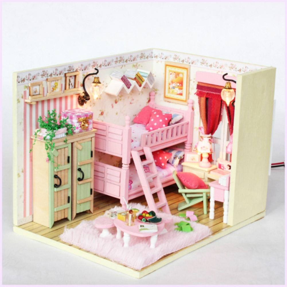 LeadingStar Dollhouse Miniature DIY House Kit Wood Cute Room with LED Light Furniture and Cover Girl Gift Toy, Pink Friends Room
