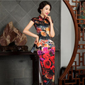 Chinese Style Silk Qipao Women's Velour Cheongsam Long Party Qipao Chinese Oriental Dress Traditional Velvet National Wind Dress