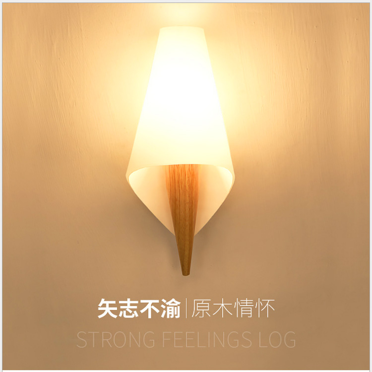 Bedroom bedside lamp led sconce solid wood simple modern aisle corridor porch balcony lamp Nordic living room wall lamp E14 modern fashion creative k9 crystal wifi design led 9w wall lamp for living room bedroom aisle corridor bathroom 80 265v 2063