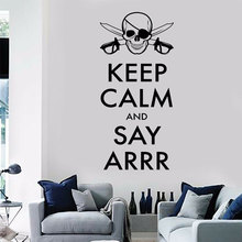 Keep Calm And Say Arr Corsair Quote Wall Sticker Pirate Skull Decals Vinyl Home Decor  Teen Room Murals Removable Wallpaper A186
