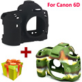 Nice Sofe Silicone Rubber Protective Camera Body Cover Case Skin for Canon EOS 6D Camera Bag Camouflage Black + Camera Balloon