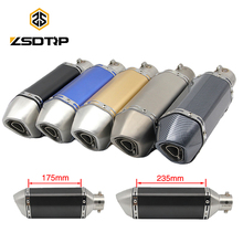 ZSDTRP L175/235 Universal Motorcycle Exhaust Ak Escape Moto Muffler Pipe With Removable DB Killer GY6 CB650F CB400 GSR600