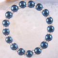 "Free Shipping New without tags Fashion Jewelry Zinc Alloy Dark blue 10MM Pearl Beads Bracelet Stretch 7.5"" 1Pcs RH1376"