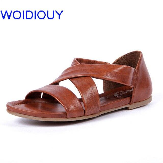 79e05c30d5e Women Sandals Soft Gladiator Sandals Women Slip on Casual Summer Shoes  Female Flat Sandals Zip Plus Size 35-43 Beach Shoes Women