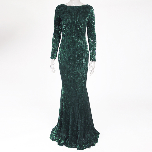 Green Sequined O Neck Evening Party Dress Maxi Dresses Elegant Sequin Floor Length Dress Gown 2