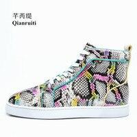 Qianruiti Men Snakeskin Flat Lace up Sneakers High Top Mixed Color Printing Casual Shoes Men Runway Chaussures Hommes EU39 EU47