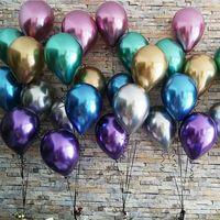100 шт хром латексные воздушные шары для свадьбы вечеринки декор надувные шары толстые жемчужные металлические латексные гелиевый баллон то...