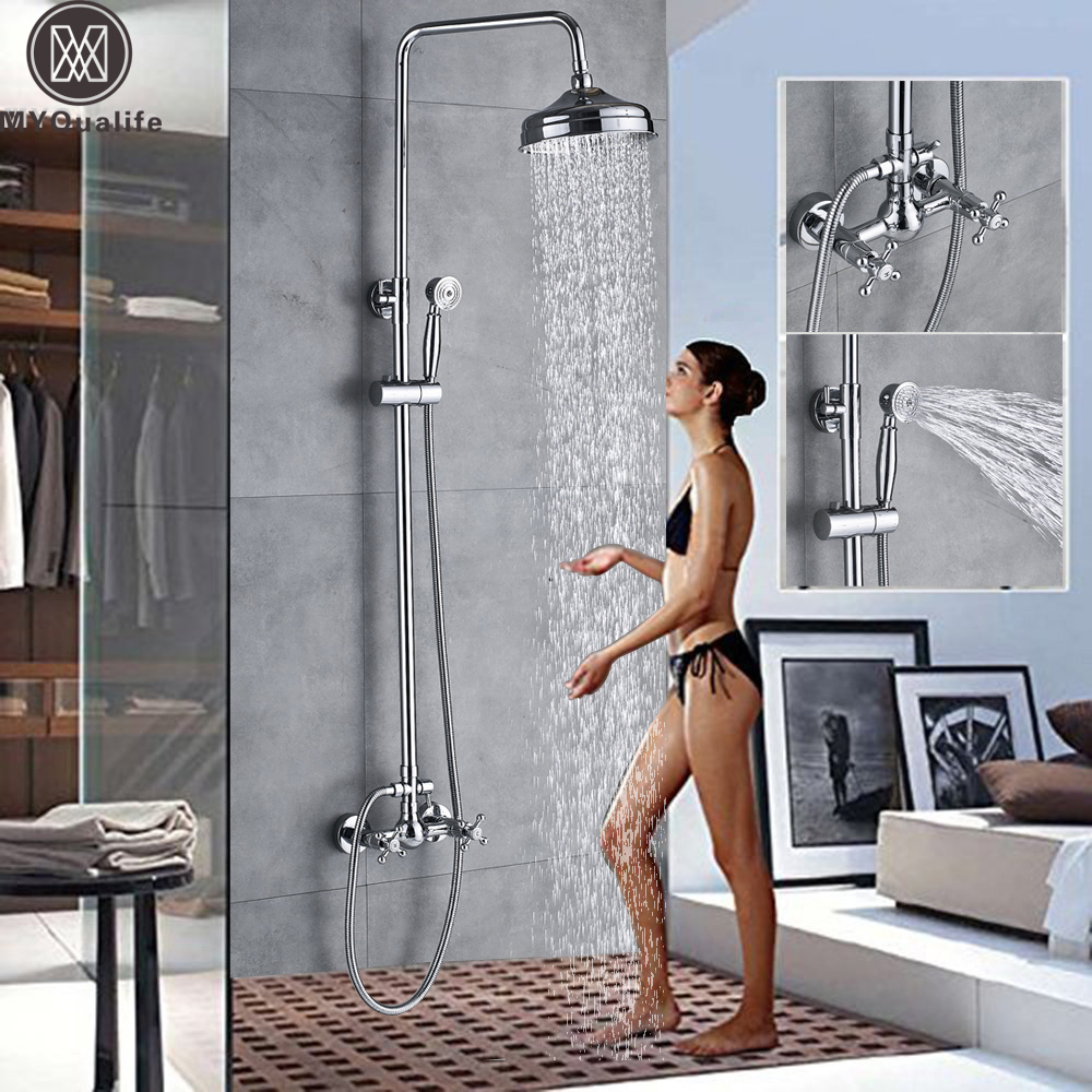Polished Chrome Bathroom Shower Mixer Faucet Shower Faucet Tap Dual Handle Rainfall 8 Brass Shower Head Height Adjustable Mixer bathroom faucet modern round 8 shower head set faucet shower set polished chrome dual handle wall mounted shower mixer tap