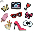 1 PCS glasses parches Embroidered Iron on Patches for Clothing DIY Stripes Clothes Popcorn Stickers Custom ice cream Badges @G