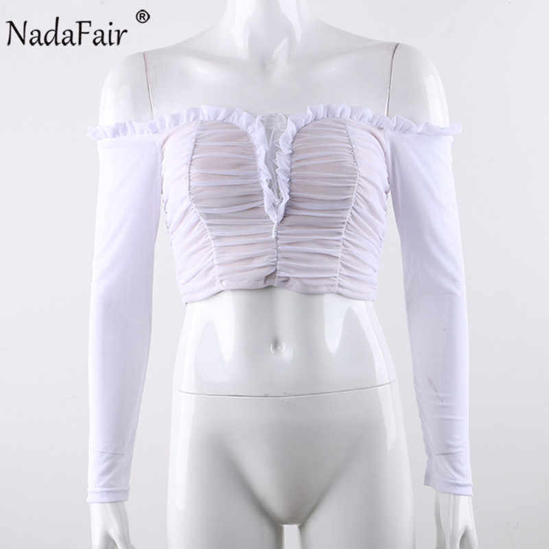 Nadafair/пикантные сетчатые майки кроп с открытыми плечами, женские топы с перекрещивающимися перекрестными завязками и рюшами, осенние черно-белые футболки с длинными рукавами