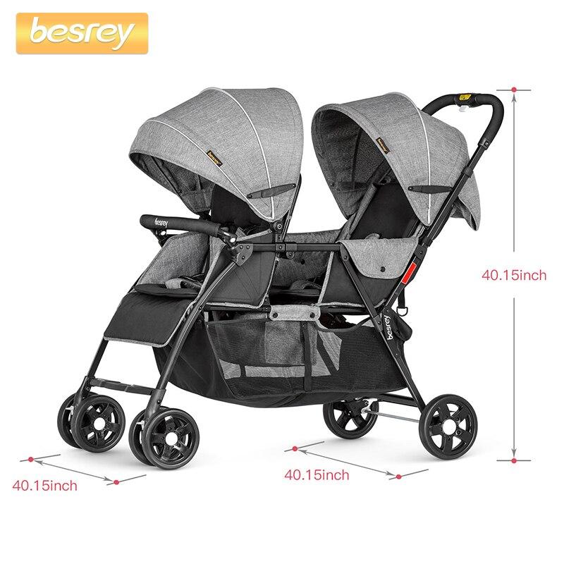 Besrey 2019 bébé poussette pour jumeaux nouveau-né bébé pliant poussette infantile grande poussette bambin chariot couché et assis Buggy