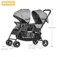 Besrey 2019 Baby Stroller for Twins Newborn Baby Folding Stroller Infant Big Pushchair Toddler Carriage Lying and sitting Buggy