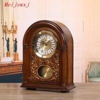 Meijswxj римскими цифрами настольные часы ABS настольные часы, пластиковые Saat Европейский стиль ретро Masa saati весь хронометраж