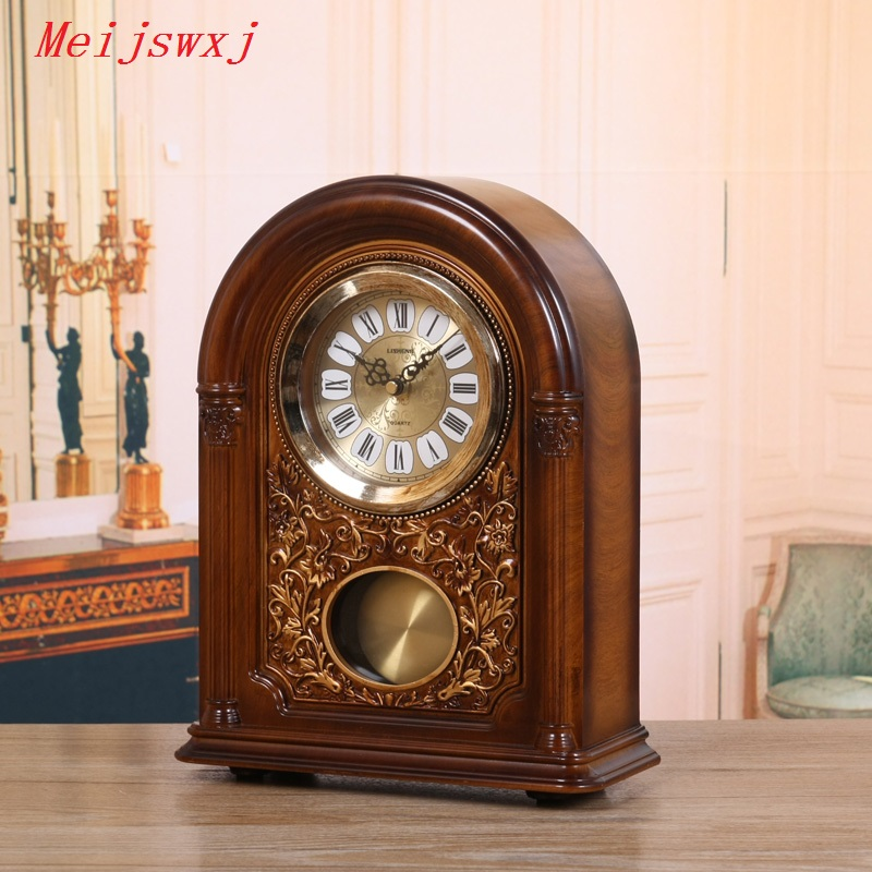 Imported From Abroad Meijswxj Roman Numerals Desktop Clock Abs Plastic Table Clock Saat European Style Retro Clocks Masa Saati The Whole Timekeeping Aesthetic Appearance Home Decor