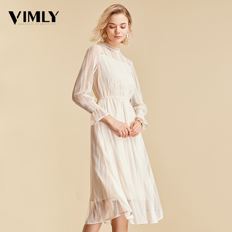 Image 3 - Vimly Elegant Mesh Lace Embroider Women Dress Stand Neck Flare Sleeve Party Dresses Sexy Midi Elastic Waist Hollow Out Dress-in Dresses from Women's Clothing