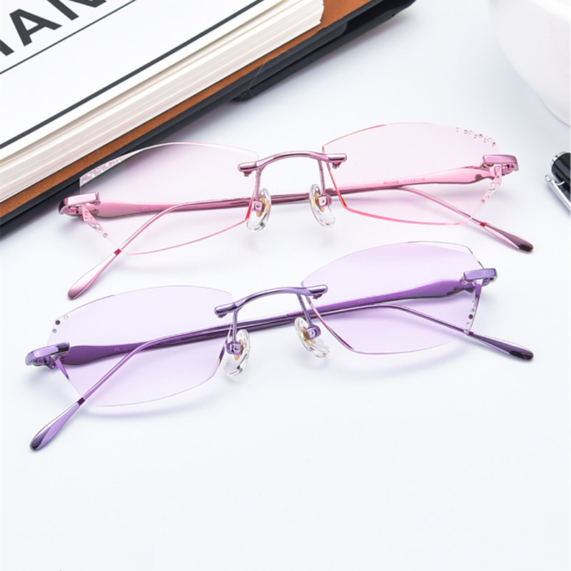 Prescription glasses Women Fashion Charm Diamond Rimless eyeglasses Customized myopia hyperopia glasses 037 Optical glasses