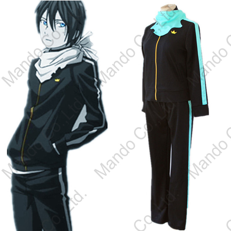 Anime Noragami Aragoto Yato Cosplay costume Mens sports suit uniform coat + pants + scarf Man's halloween cosplay party outfit