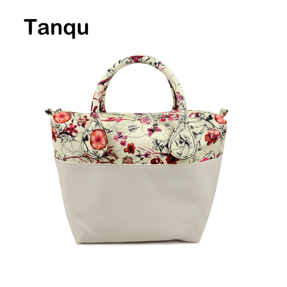 TANQU Waterproof Faux PU Leather Upper part Floral Insert Inner Pocket Plus Handle Combination for Classic