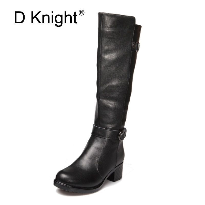 Fashion Round Toe Low Thick Theel Genuine Leather Women Winter Boots Leather Knee High Boots For Women Ladies High Ridding Boots 2017 new arrival winter plush genuine leather basic women boots knight zipper round toe low heel knee high boots zy170904