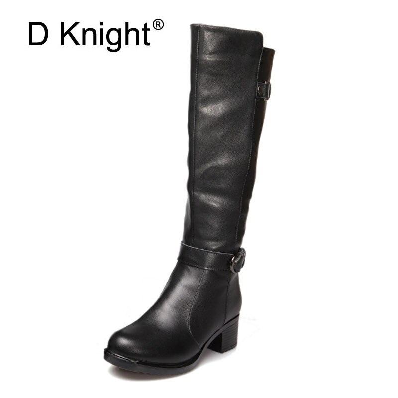 Mode bout rond bas épais Theel en cuir véritable femmes bottes d'hiver en cuir genou bottes hautes pour femmes dames bottes de débarrasser