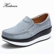 Hosteven Womens Shoes Cow Suede Leather Flat Platform Woman Shoes Spring Autumn Womens Loafers Moccasins Female Shoe