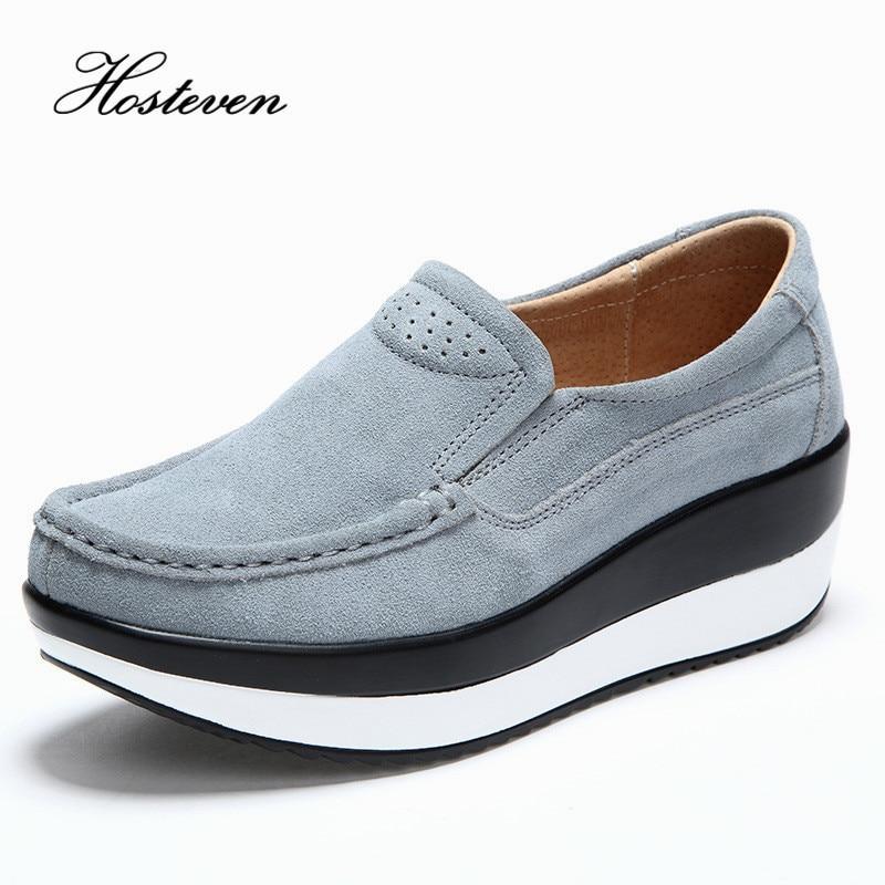 Hosteven Women's Shoes Cow   Suede     Leather   Flat Platform Woman Shoes Spring Autumn Women's Loafers Moccasins Female Shoe