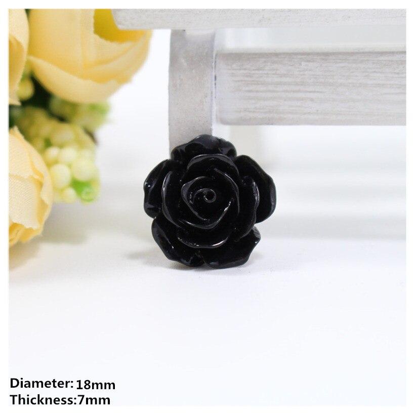 Бесплатная доставка 20 штук 18 мм черный цветы моды плоской задней кнопки смолы, аксессуары для одежды DIY аксессуары и украшения для волос, x24