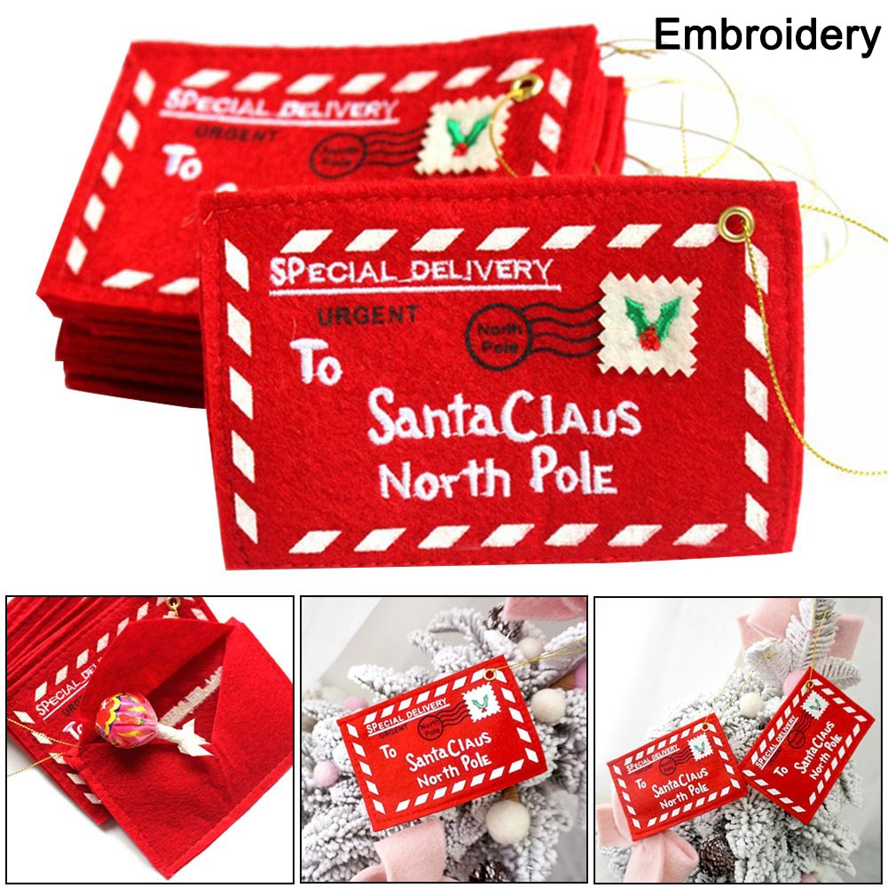 Envelope Christmas Xmas Tree Hanging Card Holder Santa Gift Bag Red Decoration QJS Shop