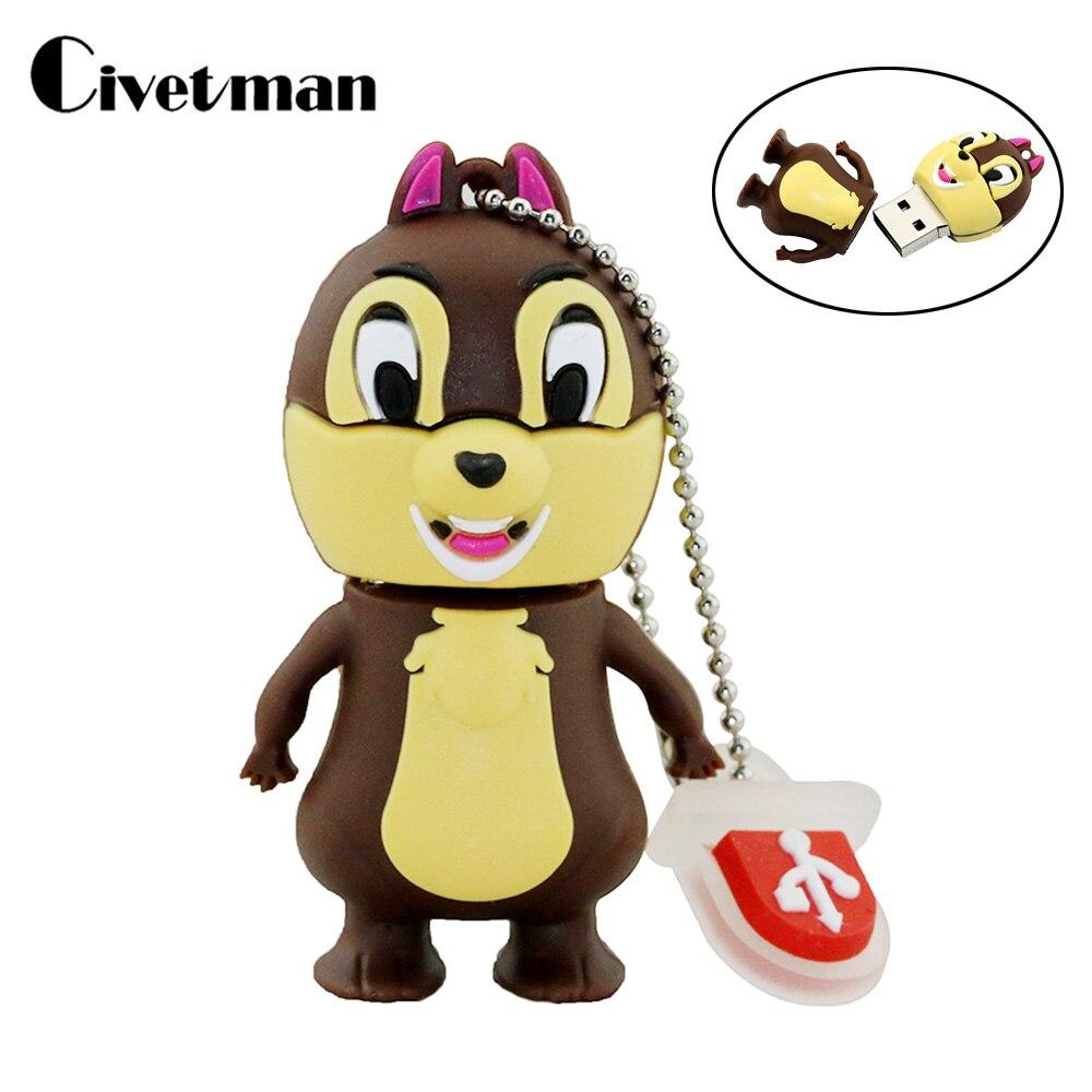 Lovely Squirrel Pendriver 4GB 8GB 16GB 32GB 64GB USB Flash Drive Memory Thumb Drive Cartoon Squirrel Cute 128GB Pen Drive