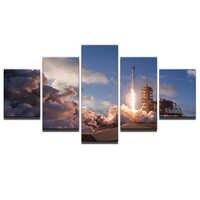 Modern HD Baskılı Yağlıboya Tuval Ev Dekor 5 Paneller Alev Emisyon Peyzaj poster çerçevesi Modüler Duvar Sanatı Resimleri