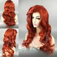 Halloween women The Little Mermaid Red Wig Body Wave Wig Cosplay Princess Ariel wavy hair stage Costume