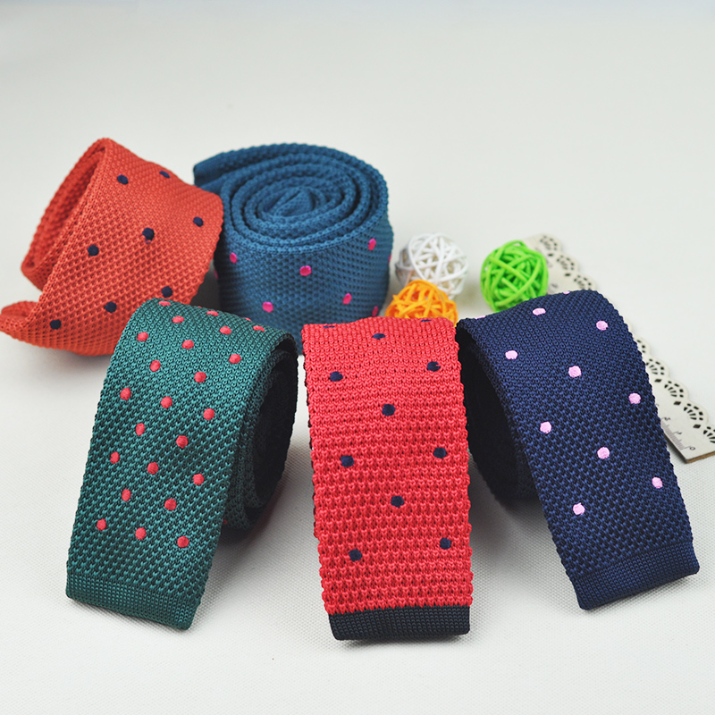 Hot Sale Dot Wool Knitted Ties Embroidered 13 Colors Fashion Neck Ties for Men Adult Pattern Filament Cravater Wedding Mens Tie timex expedition leather strap