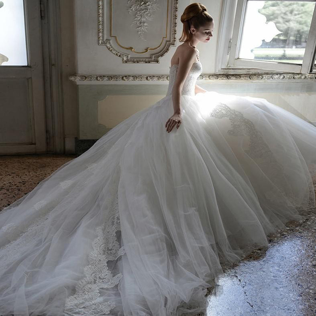 Atelier Aimee 2014 New Wedding Dresses Ball Gown Strapless Backless lace Appliques Chapel Train Tulle Bridal Gowns