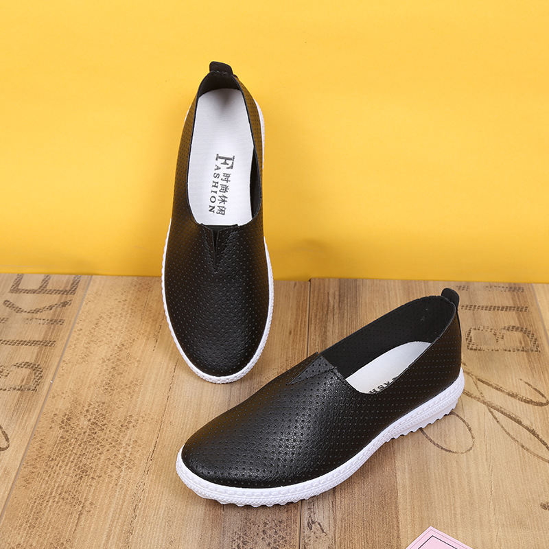 2017 summer new breathable leather surface wild little white shoes female students leisure net hole lazy shoesWoman