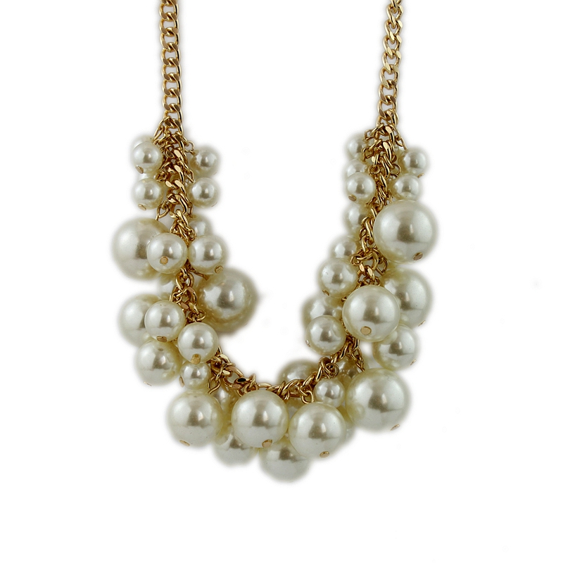 New white pearl necklace, fashionable girl clavicle chain ...