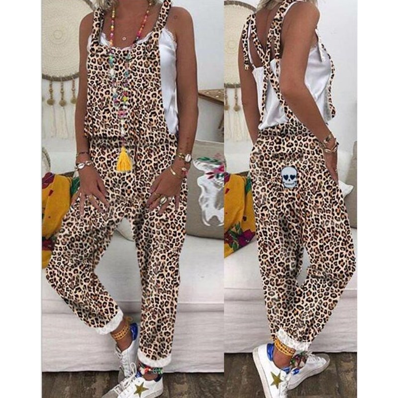 Trendy Backless Harem Jumpsuit Leopard Print Jumpsuit Women Long Rompers Sexy Club Casual Overalls