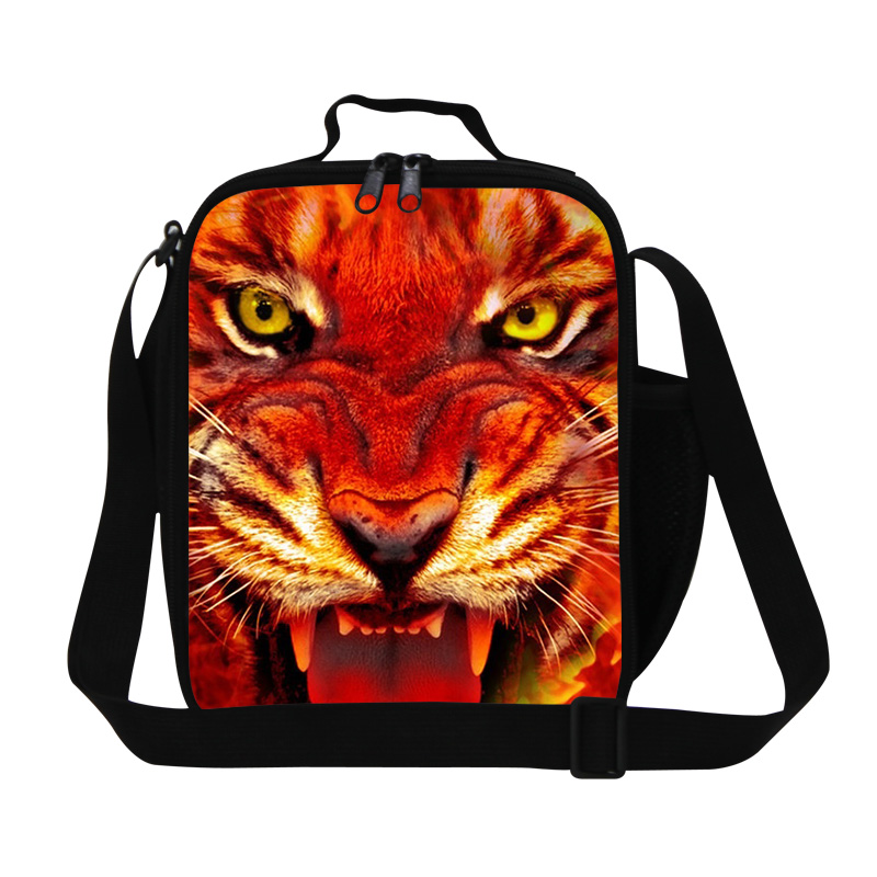 New Fashion Cool Animal Lunch Bag For Children Personalized Tiger Head Print Lunch Box Kids Thermal Bag Lancheira Food Bag