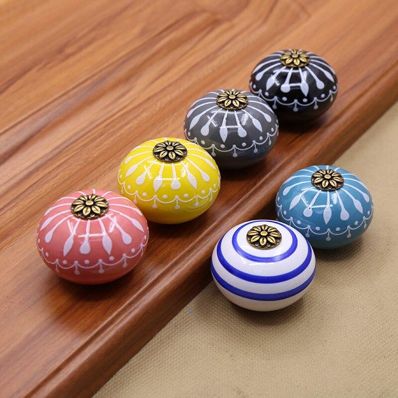 Hand-painted porcelain art handle European modern simple drawer cabinet wardrobe door round single hole