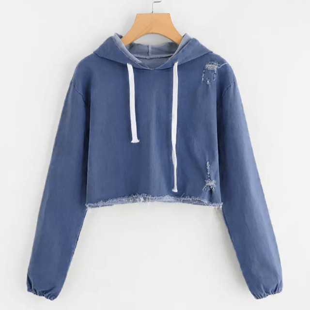 Womens Hoodies Denim Long Sleeve Hoodie Sweatshirt Jumper Pullover Tops Autumn Winter Femme Loose Blue Hooded Harajuku Clothes 3