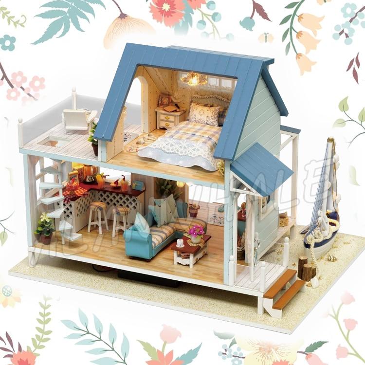 Miniature Doll House Sea View Villa Beach Boat DIY LED Light Dollhouse Furnitures Crafts ...
