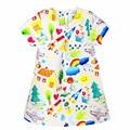 kid dress for girl 2017 Spring & Summer European style cartoon graffiti stripes printed girl dress elsa dress for 2-10 years
