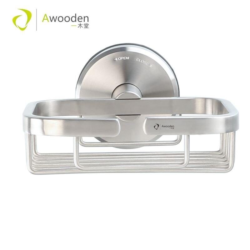Porte-savon Awooden, porte-éponge à savon bar avec ventouse sous vide pour douche salle de bain baignoire et évier de cuisine, finition brossée