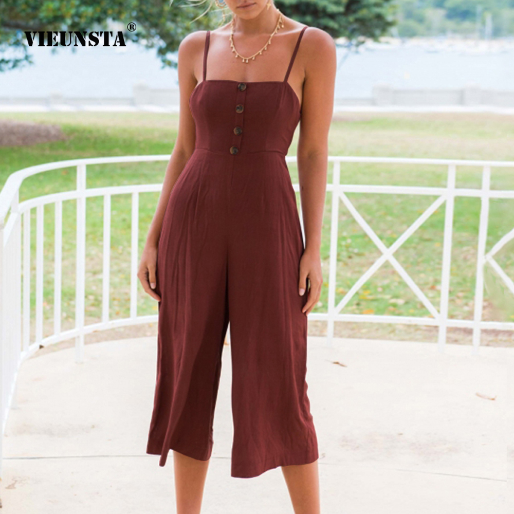 VIEUNSTA Button Spaghetti Strap Backless Bow Knot Women   Jumpsuit   2018 Summer Strapless Wide Leg Playsuit Rompers Solid   Jumpsuits