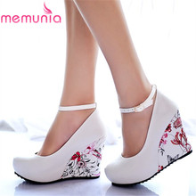 MEMUNIA 2017 new fashion wedges pumps buckle strap round toe platform women party wedding shoes woman white color