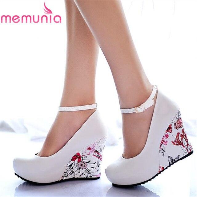 MEMUNIA 2017 new fashion wedges pumps buckle strap round toe platform women party wedding shoes woman white color