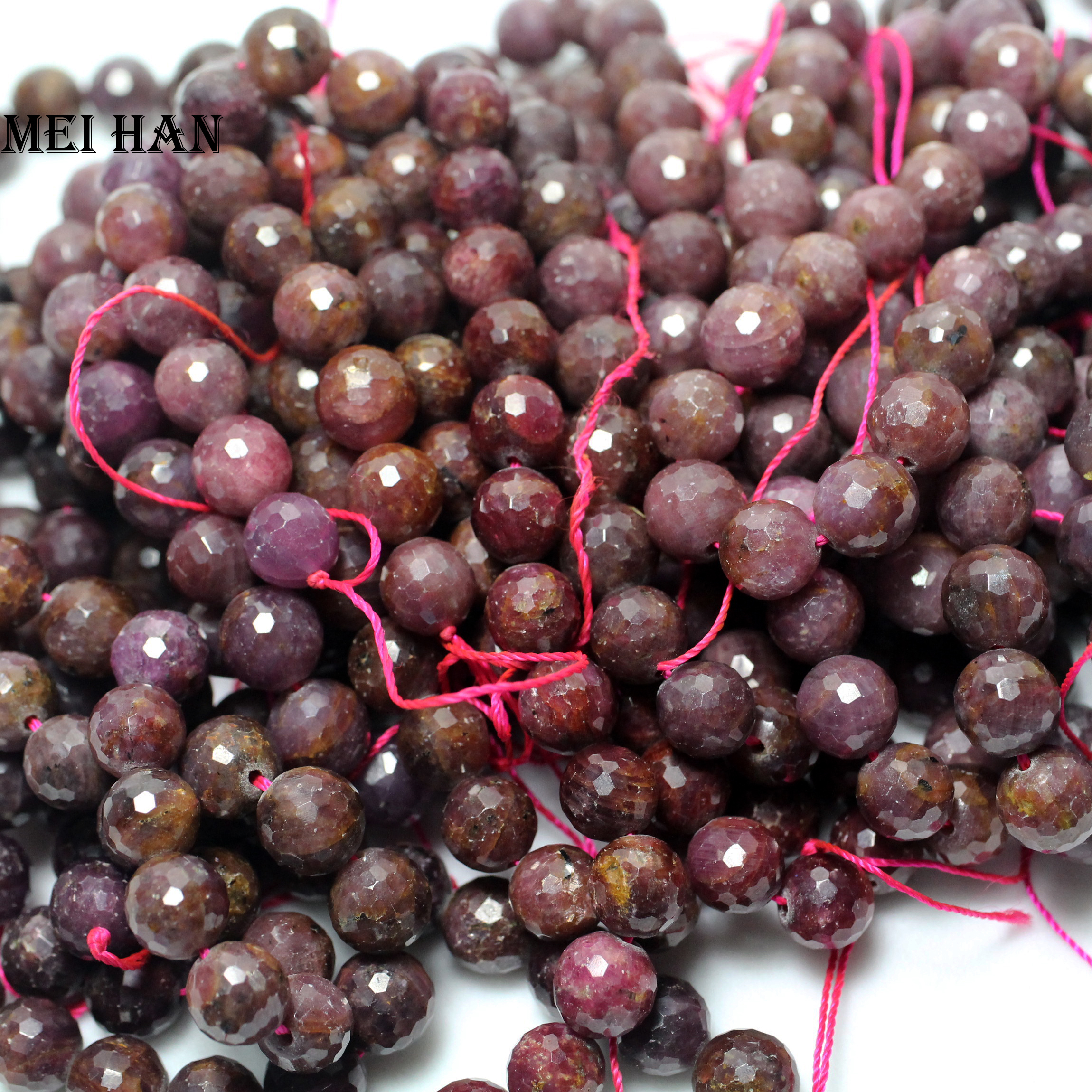 Myanmar rubyy 8 8 9 3mm faceted round 41 beads set 62g natural loose beads stone