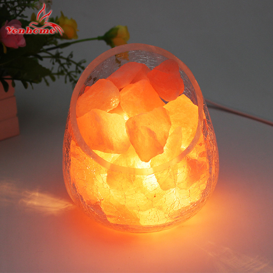 Crystal Salt Lights Himalayan Continental Decorative Small Table Lamp Creative Fashion Bedroom Bedside Desk Lamp LED Night Light